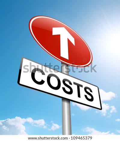 Illustration depicting a roadsign with a cost increase concept. Blue sky background.