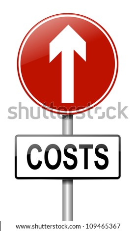 Illustration depicting a roadsign with a cost increase concept. White background.
