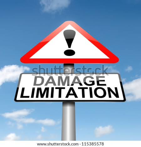 Illustration depicting a roadsign with a damage liability concept. Blue sky background.