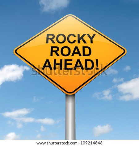 Illustration depicting a roadsign with a difficulty concept. Blue sky background.