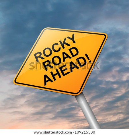 Illustration depicting a roadsign with a difficulty concept. Dramatic sky background.