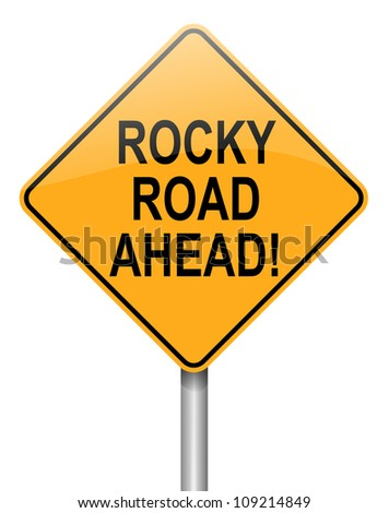 Illustration depicting a roadsign with a difficulty concept. White  background.