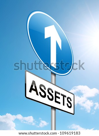 Illustration depicting a roadsign with a falling assets concept. Sunlight and sky background.