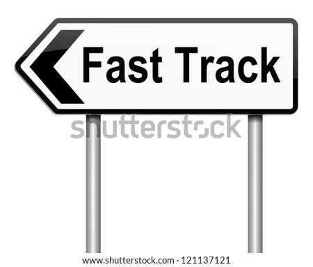 Illustration depicting a roadsign with a fast track concept. White background.