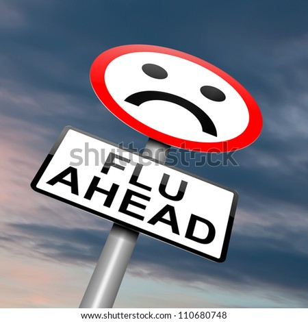 Illustration depicting a roadsign with a flu concept. Cloudy dusk background. - stock photo