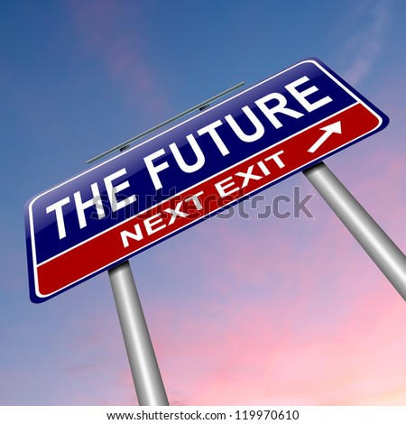 Illustration depicting a roadsign with a future concept. Dusk sky background.