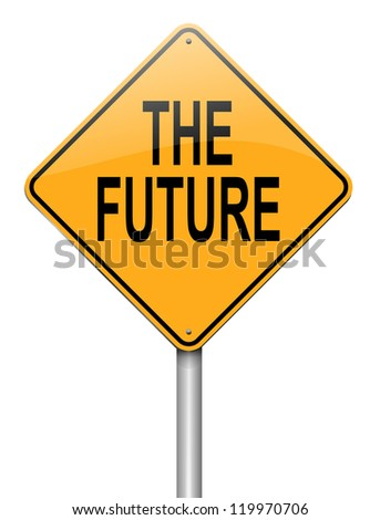 Illustration depicting a roadsign with a future concept. White background.