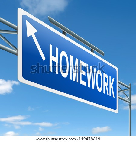 Illustration depicting a roadsign with a homework concept. White background.