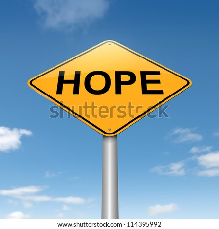 Illustration depicting a roadsign with a hope concept. Sky background.