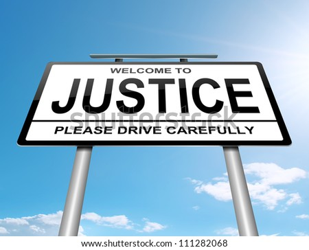 Illustration depicting a roadsign with a justice concept. Sky background.