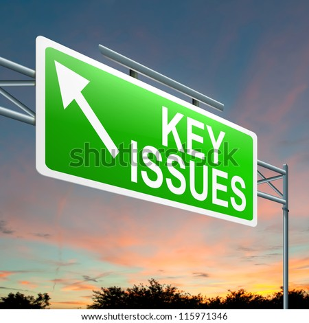 Illustration depicting a roadsign with a key issues concept. Sky background.