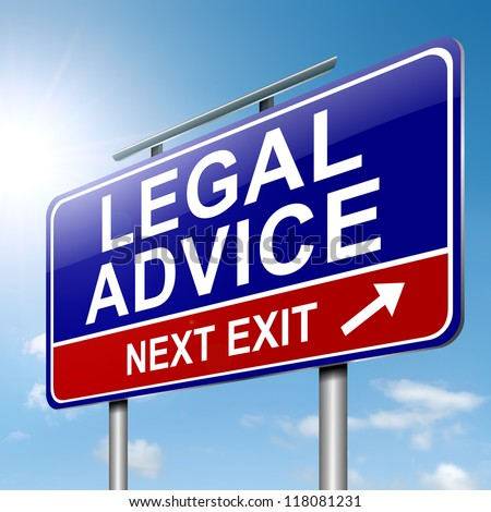 Illustration depicting a roadsign with a legal advice concept. Sky background. - stock photo