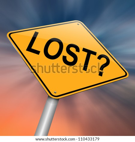 Illustration depicting a roadsign with a lost concept. Abstract background.