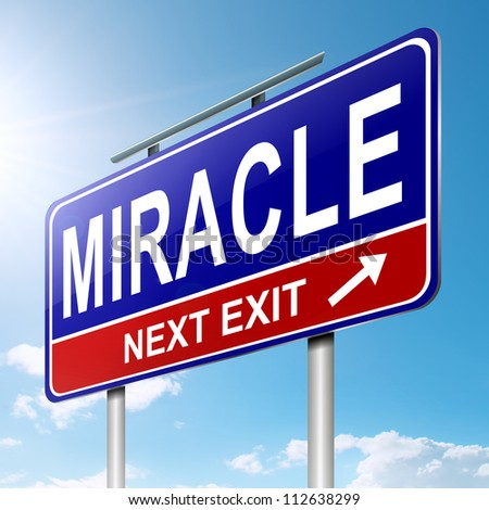 Illustration depicting a roadsign with a miracle concept. Sky background.