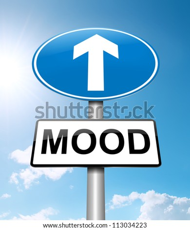 Illustration depicting a roadsign with a mood concept. Bright sunshine  background.