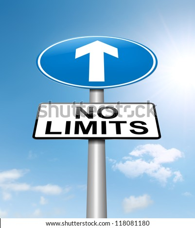 Illustration depicting a roadsign with a no limits concept. Sky background.