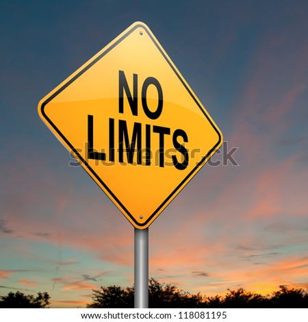 Illustration depicting a roadsign with a no limits concept. Sky background. - stock photo