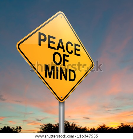 Illustration depicting a roadsign with a peace of mind concept. Dusk sky background.