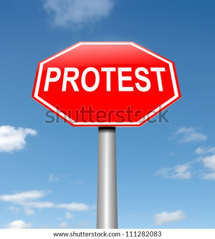 Illustration depicting a roadsign with a protest concept. Sky background.