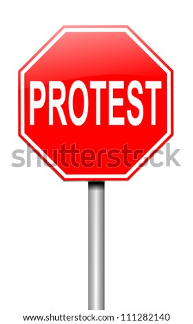 Illustration depicting a roadsign with a protest concept. White background.