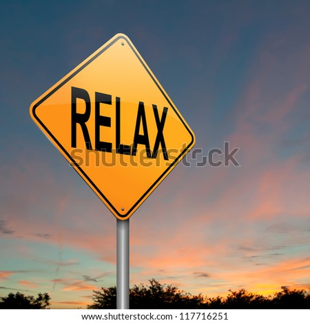 Illustration depicting a roadsign with a relax concept. Dusk sky background.