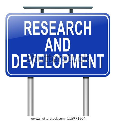 Illustration depicting a roadsign with a research and development concept. White background.