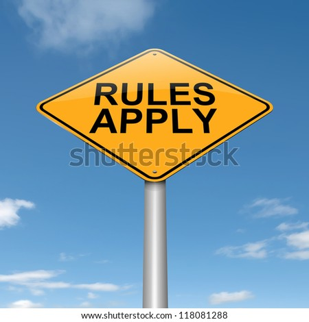 Illustration depicting a roadsign with a rules concept. Sky background.
