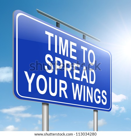Illustration depicting a roadsign with a spreading your wings concept. Sky background.