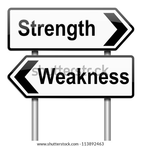 illustration depicting a roadsign  a strength and weakness  illustration depicting a roadsign a strength and weakness concept white background