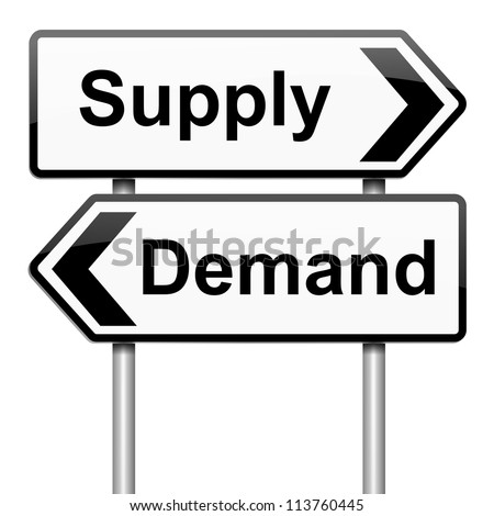 Illustration depicting a roadsign with a supply or demand concept.White background.
