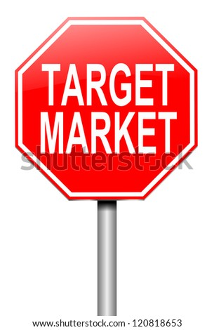 Illustration depicting a roadsign with a target market concept. White background.