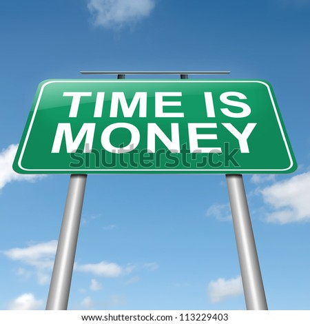 Illustration depicting a roadsign with a time is money concept. Sky background.