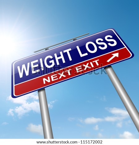 Illustration depicting a roadsign with a weight loss concept. Sky background.