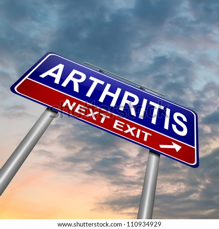 Illustration depicting a roadsign with an arthritis concept. Dusk sky  background.