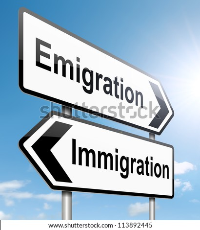 Illustration depicting a roadsign with an emigration or immigration concept. Sky background.