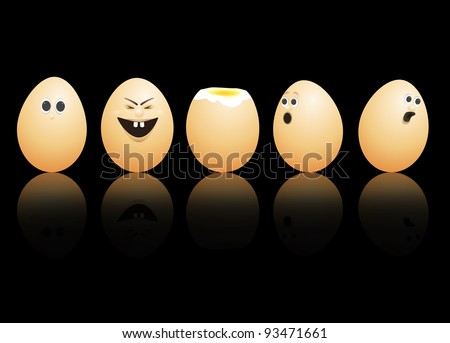 illustration depicting a row of brown eggs with painted faces arranged over black and reflecting into the foreground.