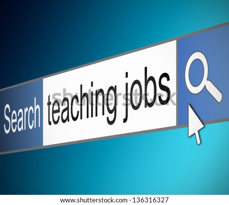 Illustration depicting a screen shot of an internet search bar containing a teaching jobs concept.