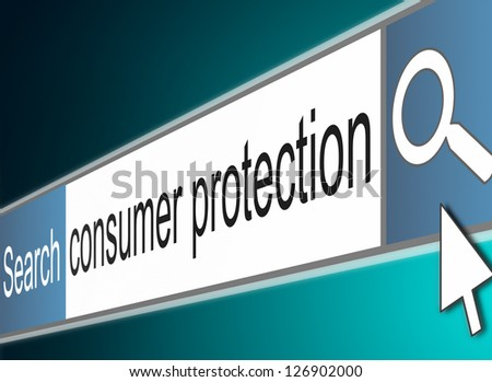Illustration depicting a screen shot of an internet search bar with a consumer protection concept.