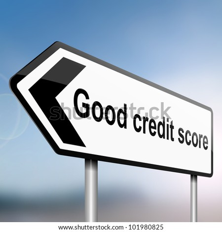 illustration depicting a sign post with directional arrow containing a credit score concept. Blurred background.