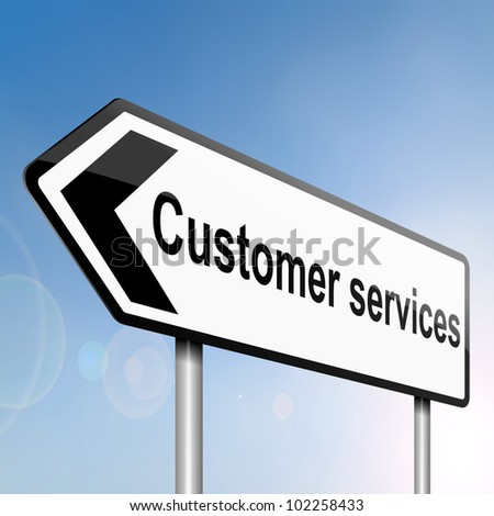 illustration depicting a sign post with directional arrow containing a customer services concept. Blurred background.