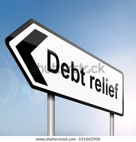 illustration depicting a sign post with directional arrow containing a debt relief concept. Blurred background.