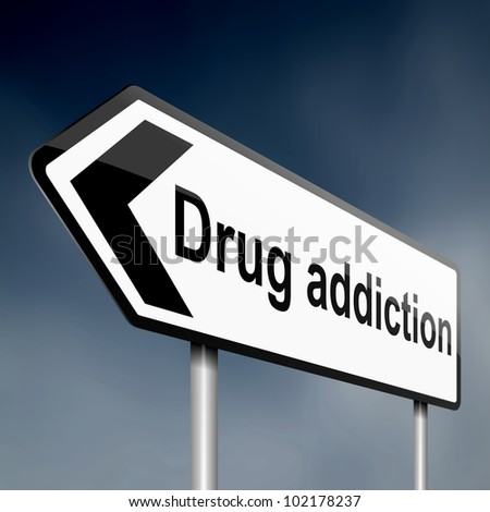 illustration depicting a sign post with directional arrow containing a drug addiction concept. Blurred background.