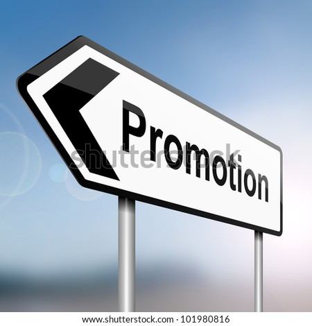 illustration depicting a sign post with directional arrow containing a job promotion concept. Blurred background.
