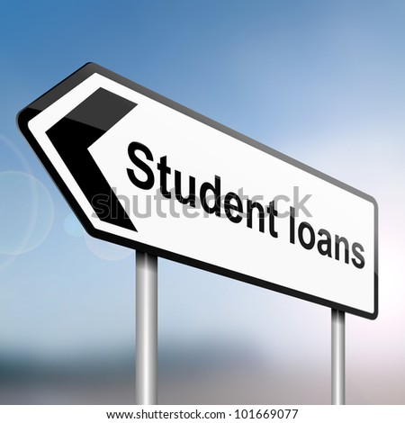 illustration depicting a sign post with directional arrow containing a student loans concept. Blurred background.