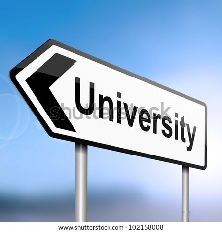 illustration depicting a sign post with directional arrow containing a university concept. Blurred blue sky background.