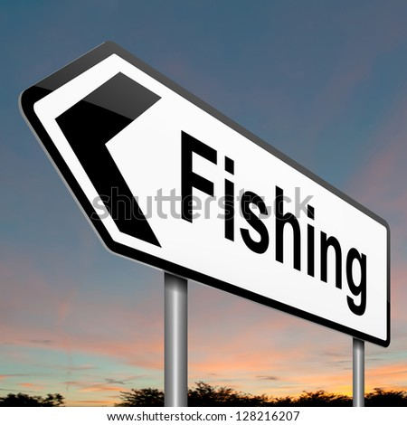 Illustration depicting a sign with a fishing concept.