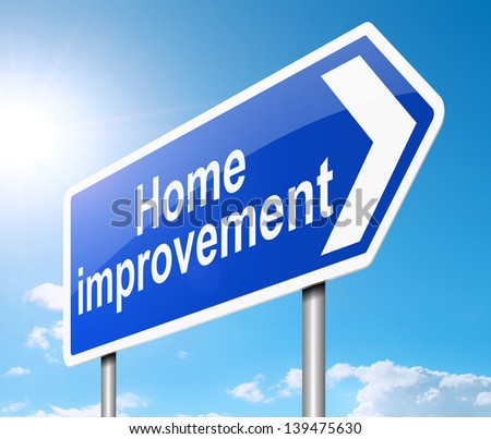 Illustration depicting a sign with a home improvement concept.