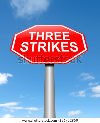 Illustration depicting a sign with a thee strikes concept.