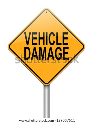 Illustration depicting a sign with a vehicle damage concept. - stock photo
