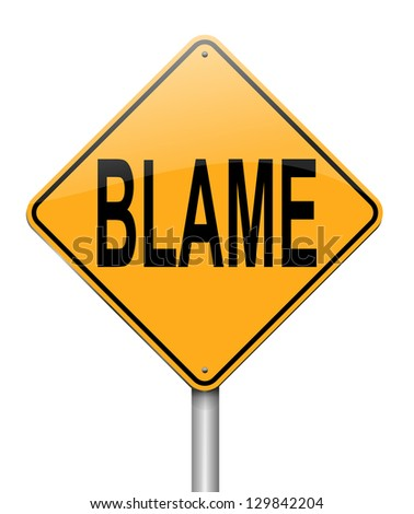 Illustration depicting a sign with an blame concept.